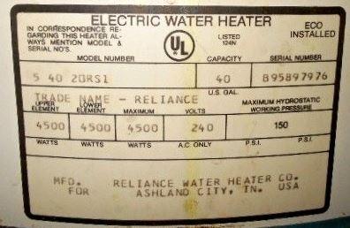 Kenmore water heater serial number