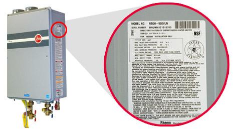 Seril Number Rheem Water Heater