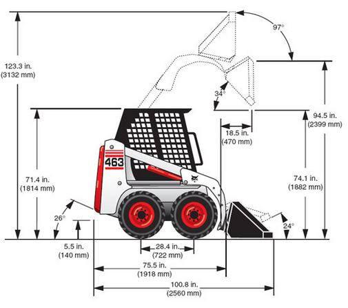 Bobcat T190 dimensions